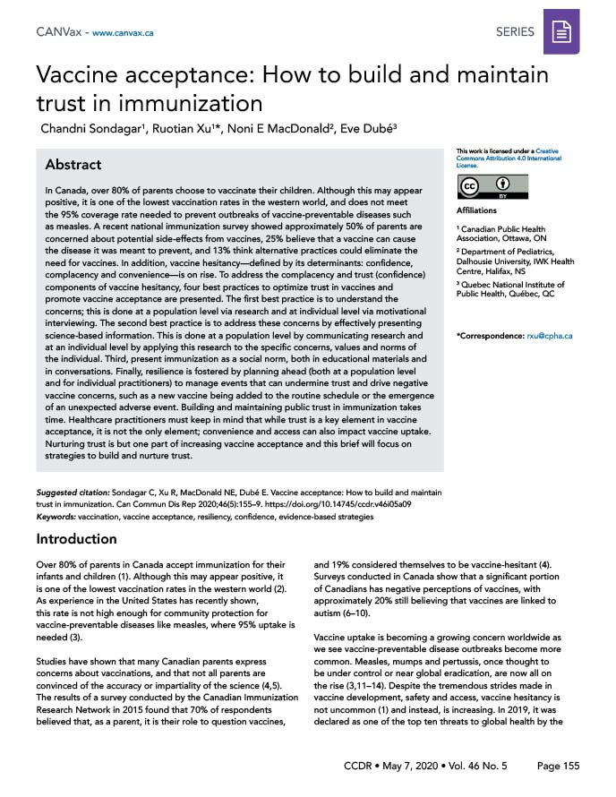 Vaccine acceptance: How to build and maintain trust in immunization